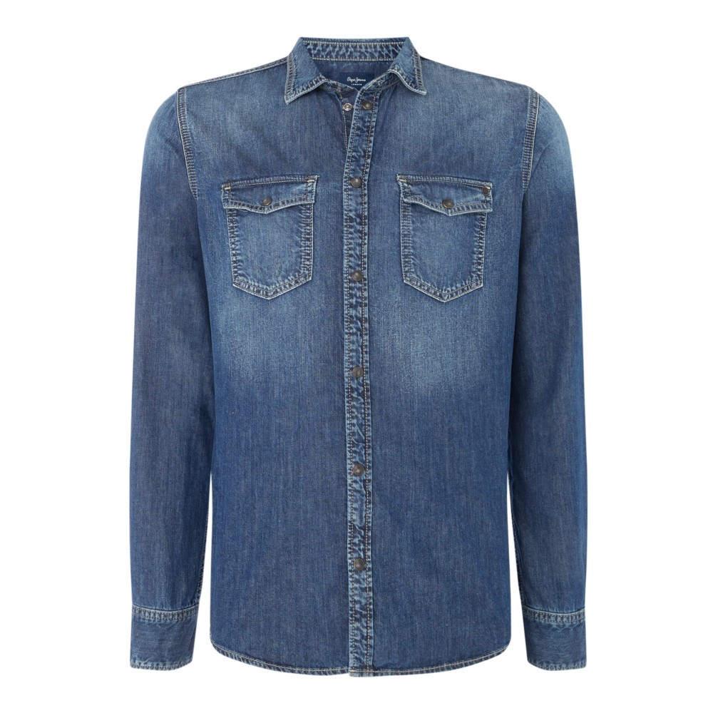 ペペジーンズ メンズ トップス シャツ【Hammond Long Sleeve Denim Shirt】mid blue