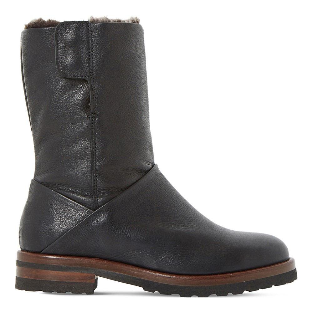 デューン dune レディース シューズ・靴 ブーツ【rayner shearling-lined leather boots】Black-leather