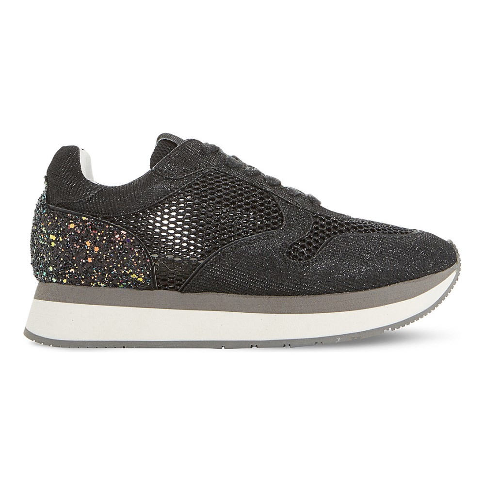 デューンブラック dune black レディース シューズ・靴 スニーカー【everlynn glitter mesh and leather trainers】Black-glitter