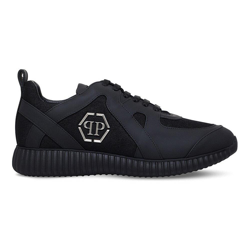 フィリップ プレイン philipp plein メンズ シューズ・靴 スニーカー【overlay-detail leather and fabric trainers】Black