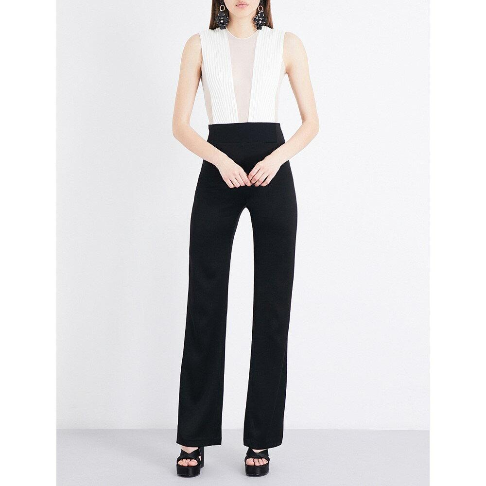 ガルバン galvan レディース トップス オールインワン【sheer-panel mesh and satin jumpsuit】Black w/ white top