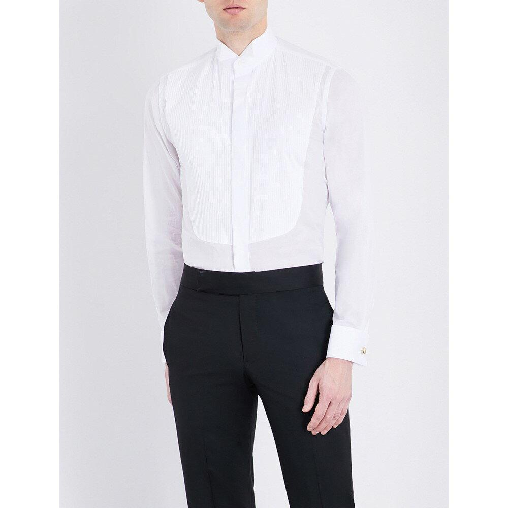 カナーリ canali メンズ トップス フォーマルシャツ【yoke-pleated slim-fit cotton shirt】White