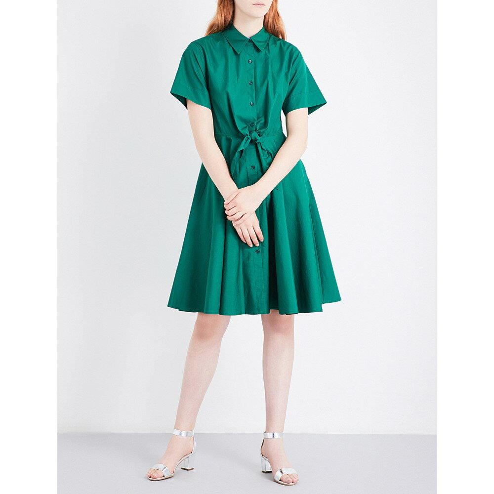 ダイアン フォン ファステンバーグ diane von furstenberg レディース トップス ワンピース【knot-waist cotton-poplin shirt dress】Bottle green