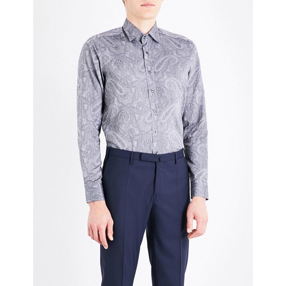 エトロ etro メンズ トップス フォーマルシャツ【tonal paisley-pattern tailored-fit cotton shirt】Grey