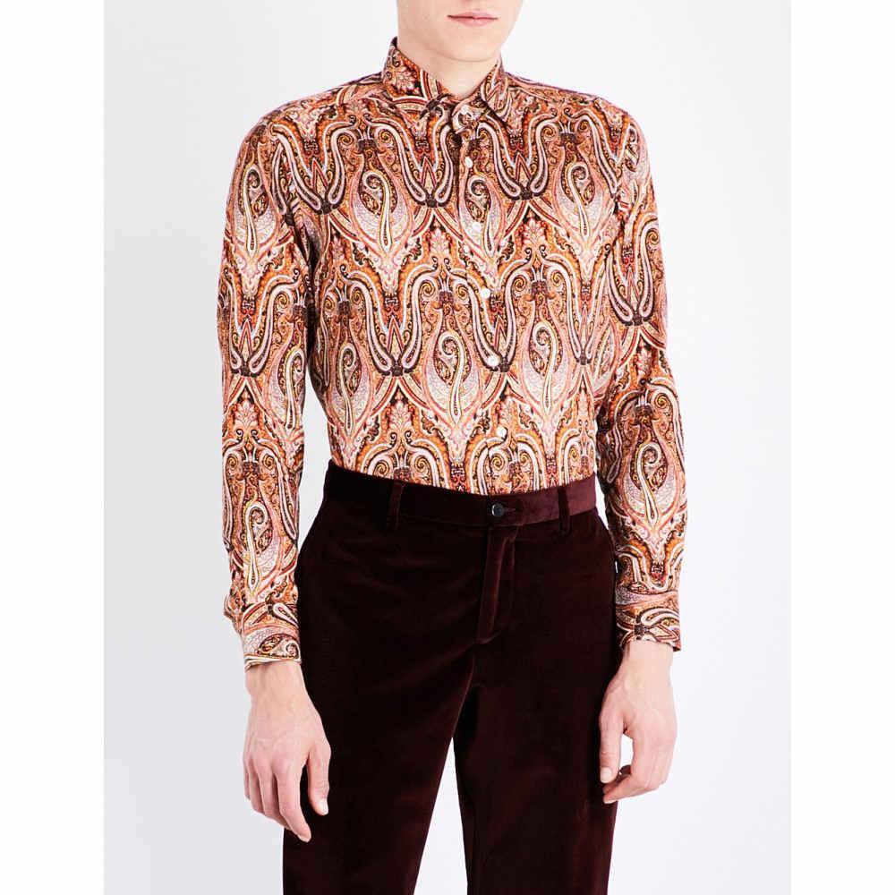 エトロ etro メンズ トップス フォーマルシャツ【paisley-patterned slim-fit cotton shirt】Orange