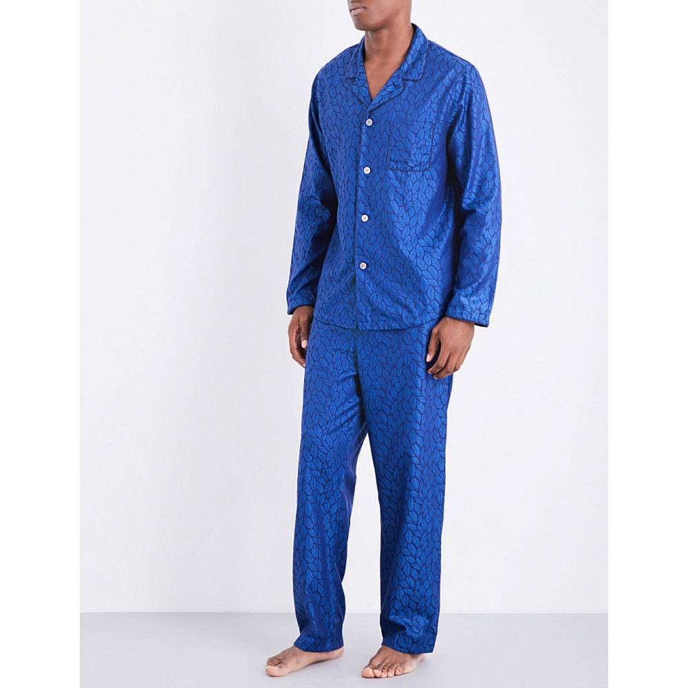 デリック ローズ derek rose メンズ インナー・下着 パジャマ・上下セット【modern leaf-pattern jacquard pyjama set】Brt blue