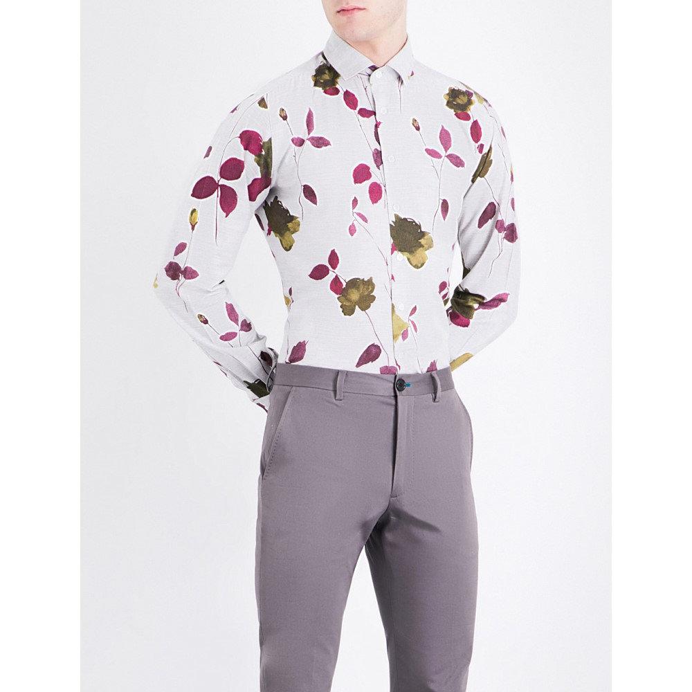 ドゥシャン duchamp メンズ トップス シャツ【floral-print tailored-fit cotton-melange shirt】Burgundy