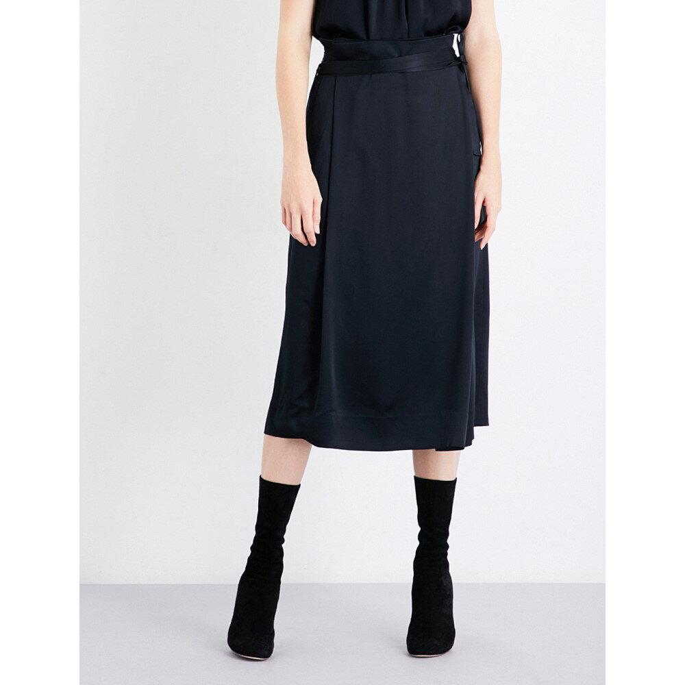 プロタゴニスト protagonist レディース スカート ひざ丈スカート【wrap satin-crepe midi skirt】Onyx