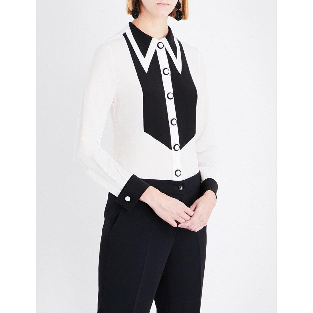 エトロ etro レディース トップス ブラウス・シャツ【pointed-collar bib-front silk shirt】White