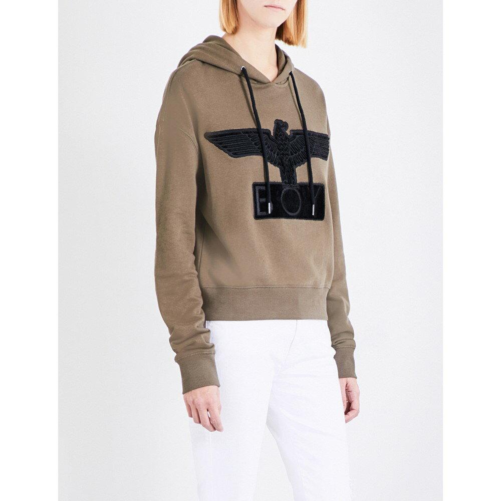 ボーイロンドン boy london レディース トップス パーカー【bristle logo cotton-jersey hoody】Khaki black