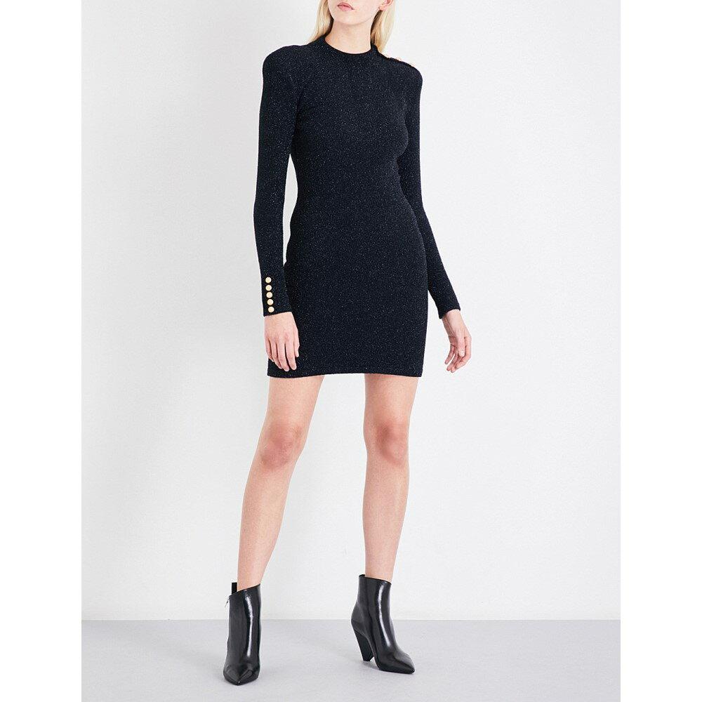 バルマン balmain レディース ワンピース・ドレス ワンピース【high-neck metallic knitted dress】Noir