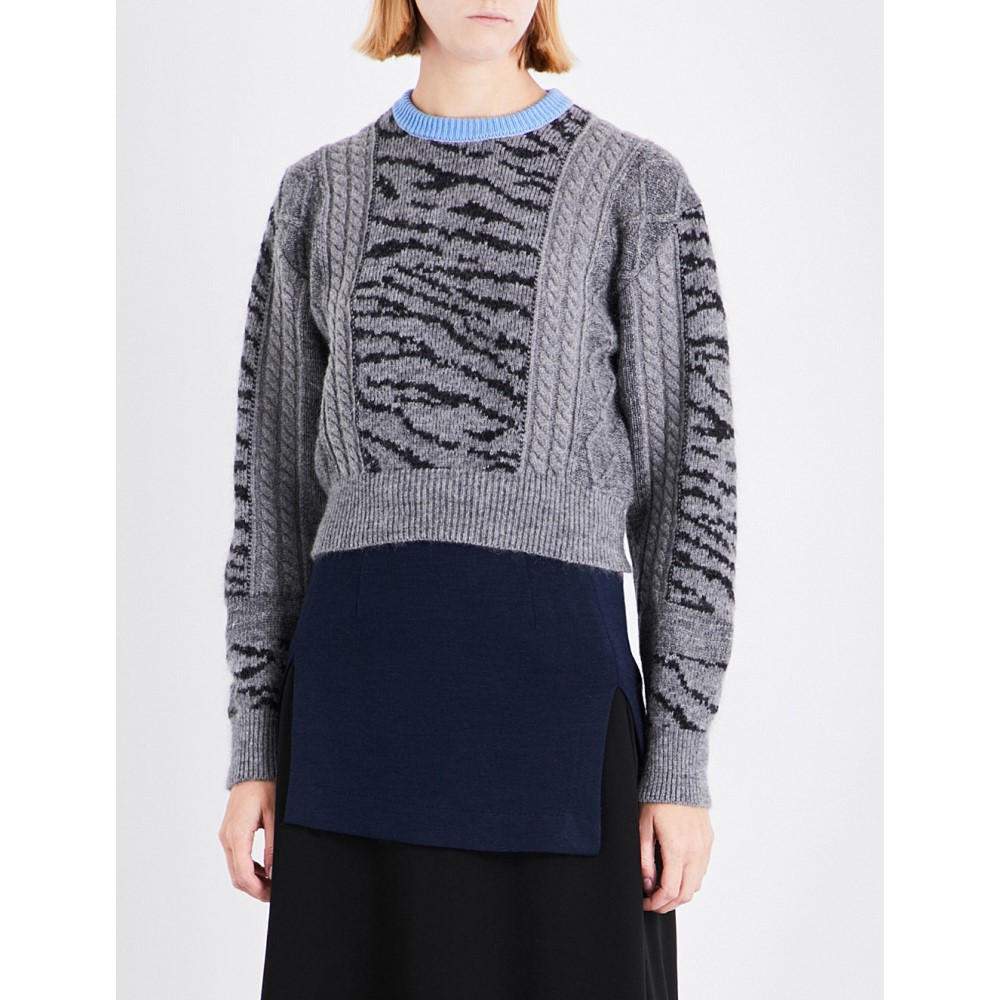 トーガ toga レディース トップス ニット・セーター【tiger-embroidered wool-blend jumper】Grey