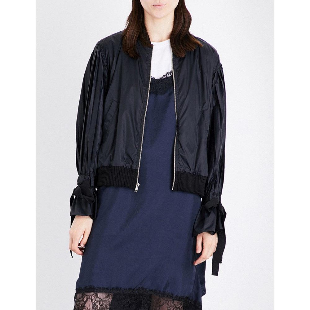 クルー clu レディース アウター ブルゾン【pleated puff-sleeve sheell bomber jacket】Black