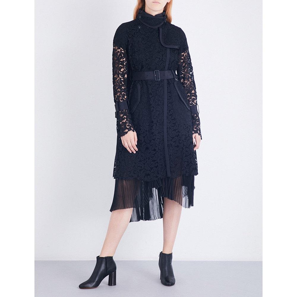 サカイ sacai レディース アウター コート【buckle-fastened floral-lace coat】Black