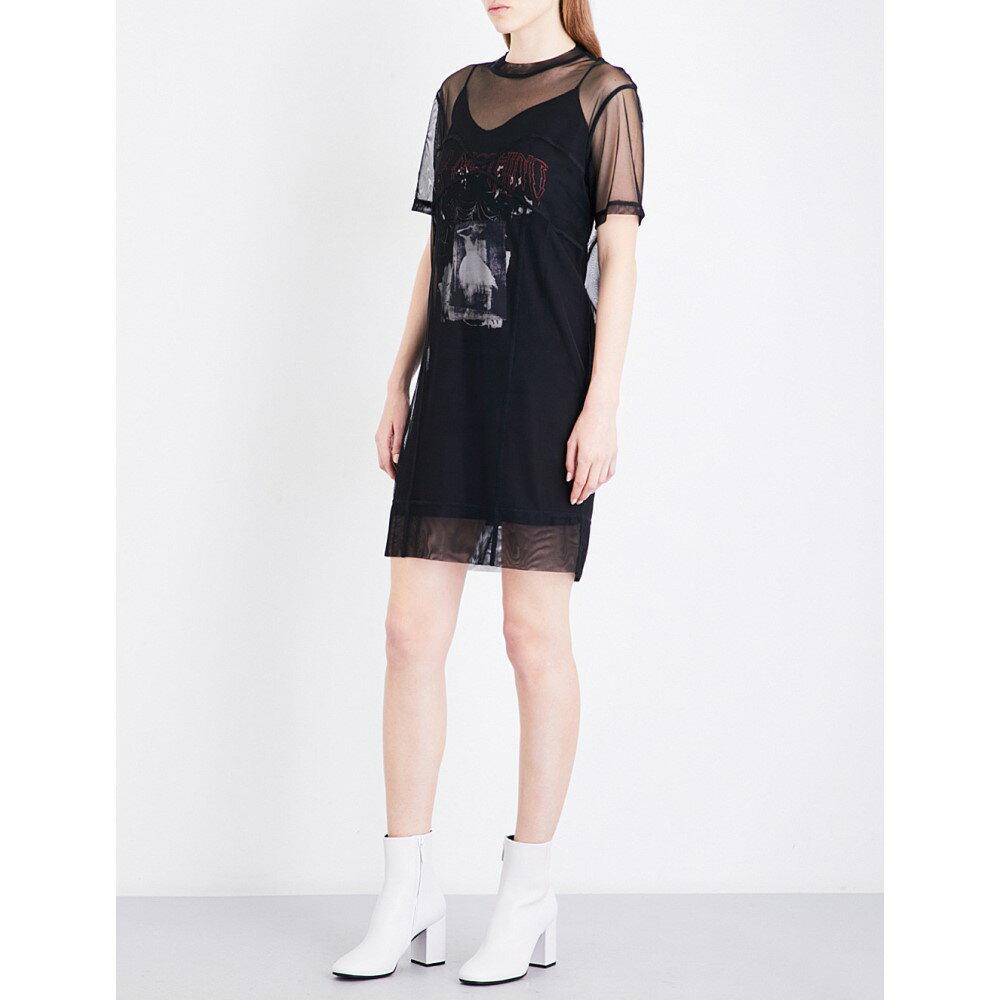 アレキサンダー マックイーン mcq alexander mcqueen レディース ワンピース・ドレス ワンピース【trompe-l'oeil mesh mini dress】Darkest black