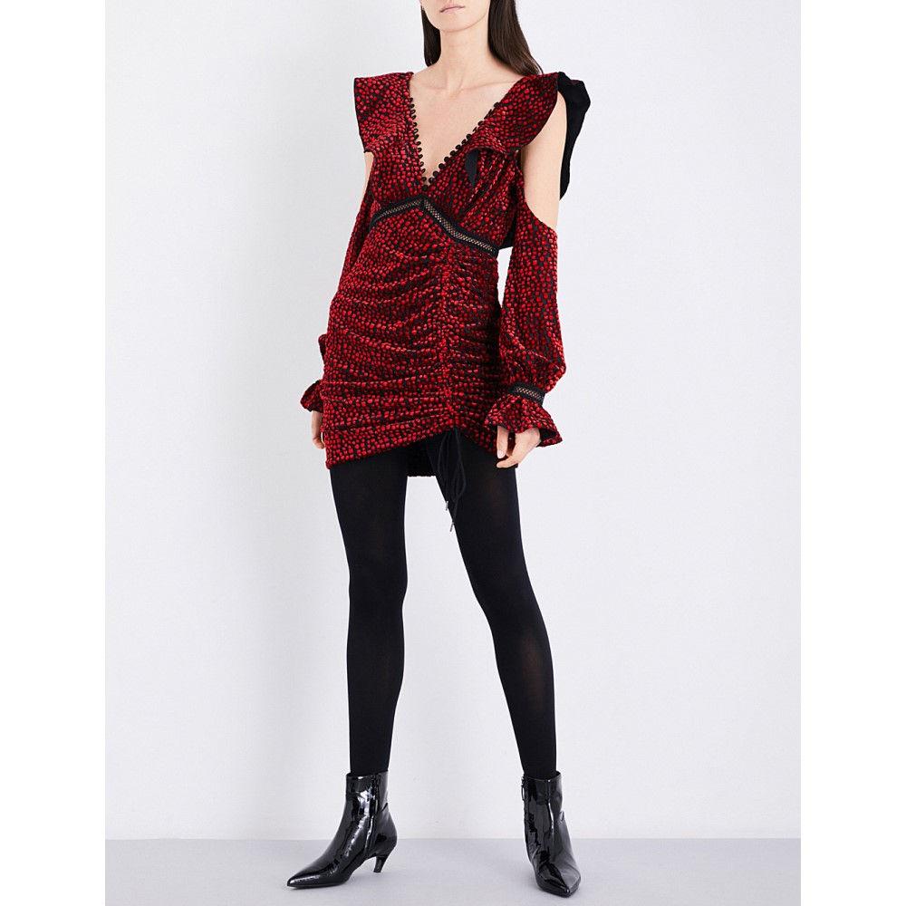 セルフ ポートレイト self-portrait レディース ワンピース・ドレス ワンピース【flecked devore mini dress】Red
