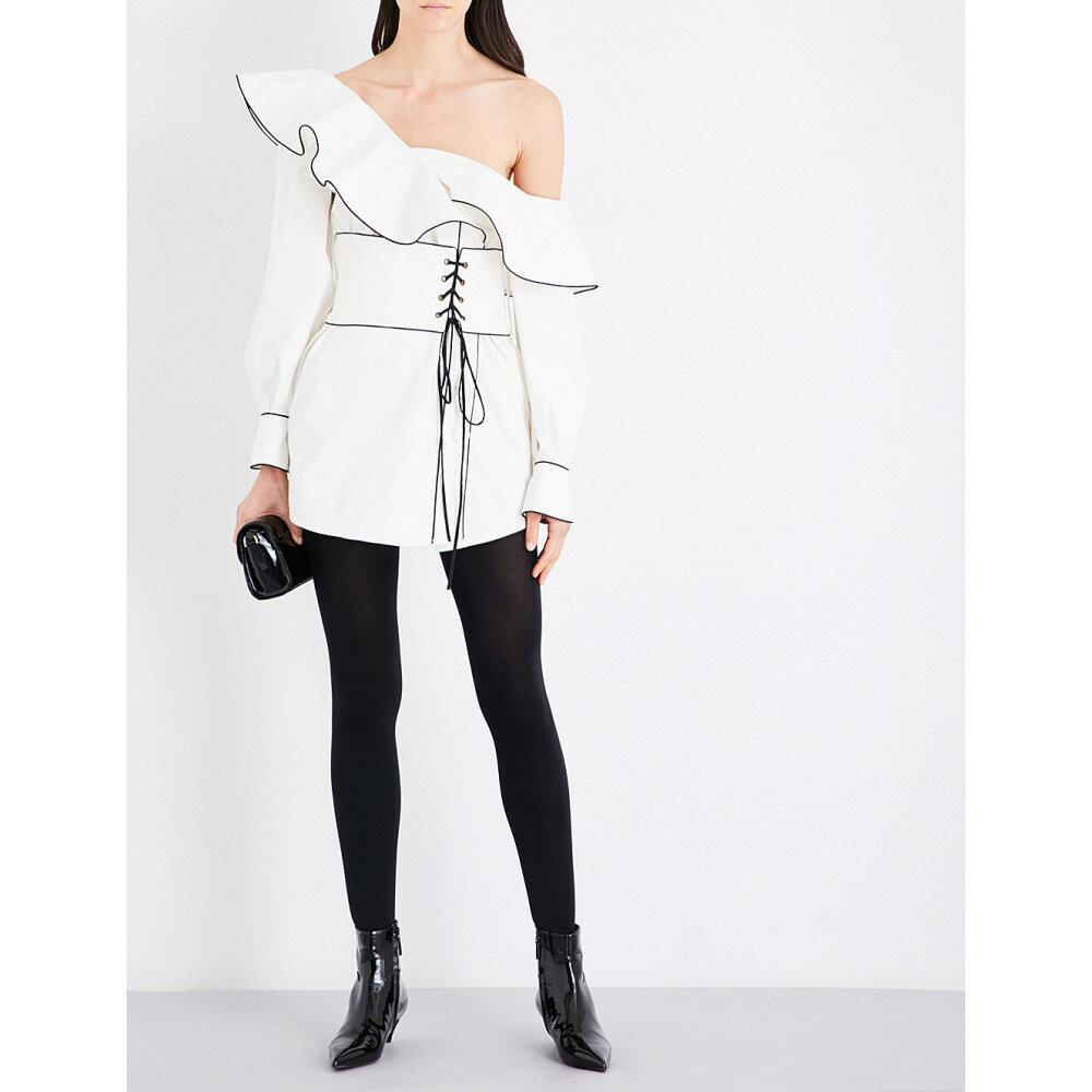 セルフ ポートレイト self-portrait レディース ワンピース・ドレス ワンピース【canvas corset belted stretch-cotton tunic】White