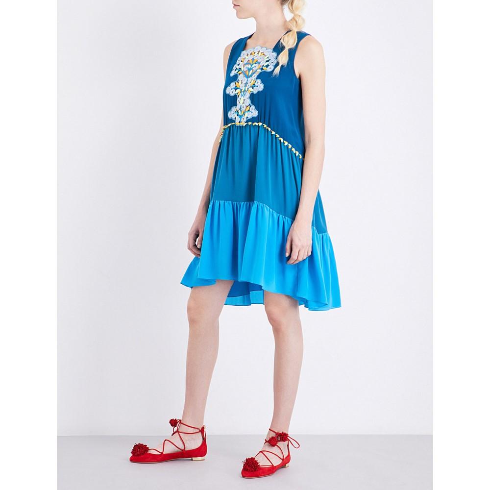 ピーター ピロット peter pilotto レディース ワンピース・ドレス ワンピース【embroidered silk dress】Blue