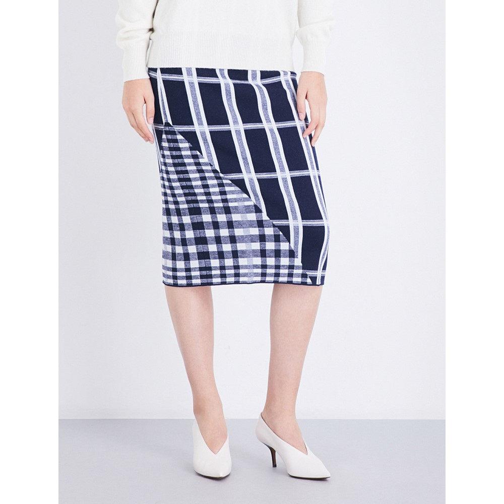 ヴィクトリア ベッカム victoria beckham レディース スカート ロング・マキシ丈スカート【tartan wool-blend skirt】Navy/white/navy shine