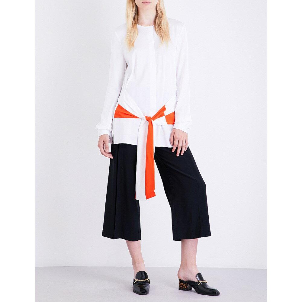 ヴィクトリア ベッカム victoria victoria beckham レディース トップス ブラウス・シャツ【striped self-tie satin shirt】White/orange zest