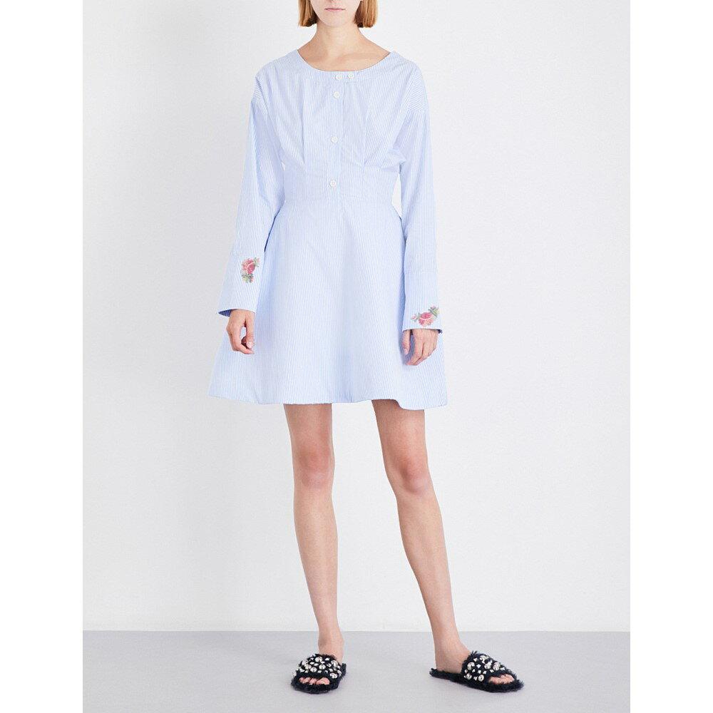 ナターシャ ジンコ natasha zinko レディース ワンピース・ドレス ワンピース【bead-embellished boat-neck cotton-blend dress】Light blue