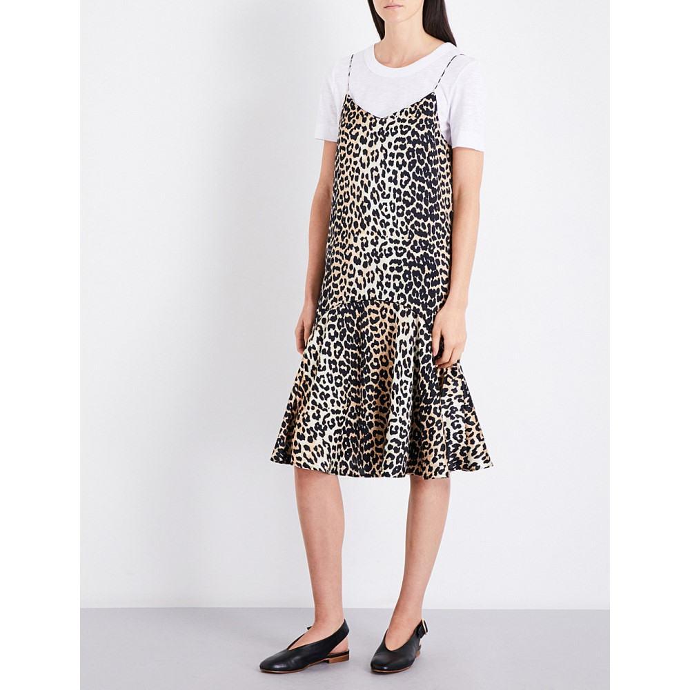 ガニー ganni レディース ワンピース・ドレス ワンピース【dufort stretch silk-satin slip dress】Leopard