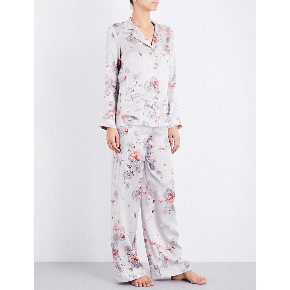 メン meng レディース インナー・下着 パジャマ・上下セット【pearl-print silk-satin pyjama set】Earth