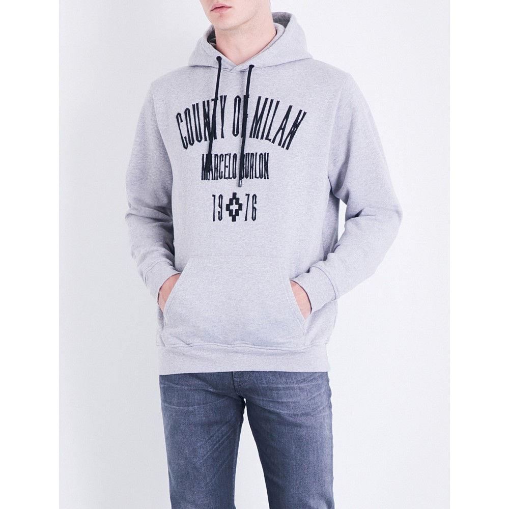 マルセロバーロン marcelo burlon メンズ トップス パーカー【logo-print cotton-jersey hoody】Melange grey black