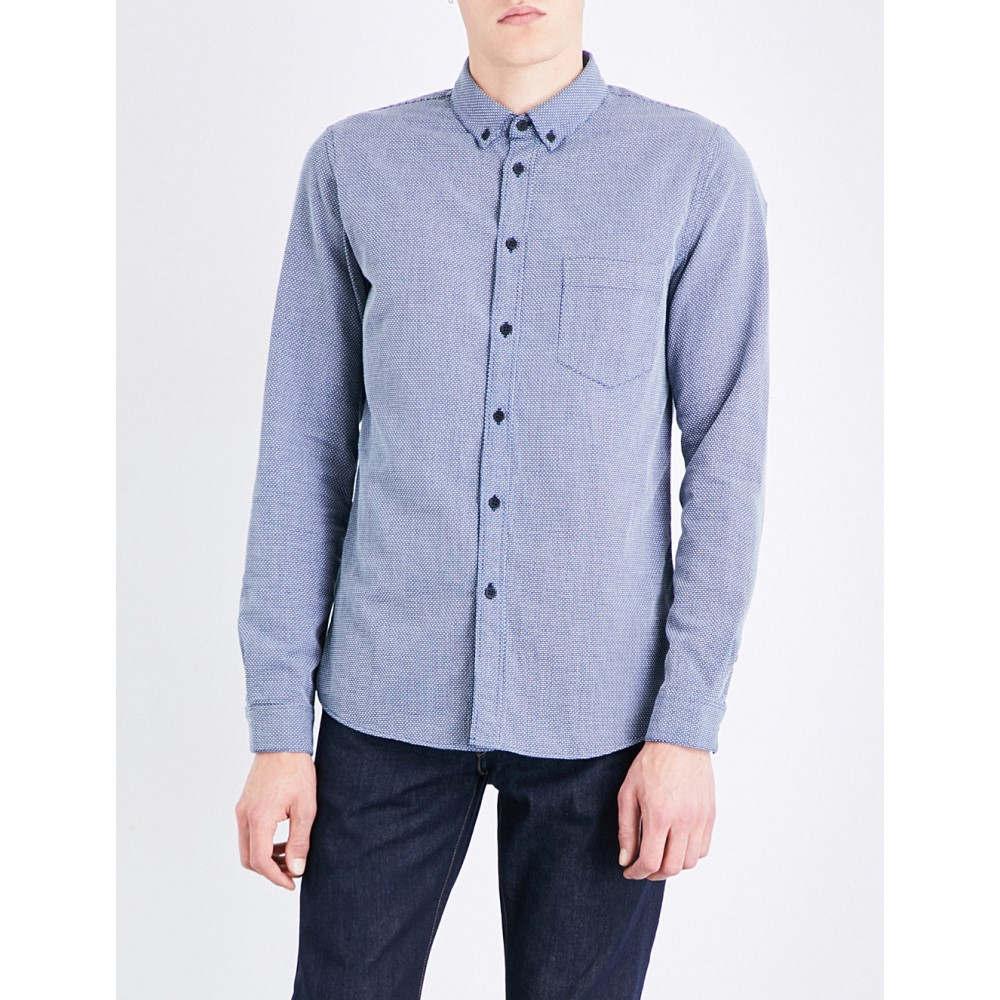 リーバイス levis made & crafted メンズ トップス シャツ【geometric-patterned regular-fit button-down cotton shirt】Indigo dobby