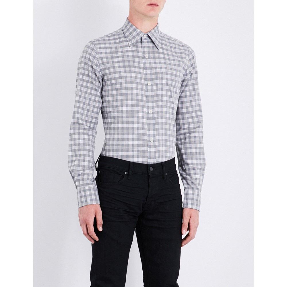 トム フォード tom ford メンズ トップス シャツ【checked regular-fit cotton shirt】Mid grey