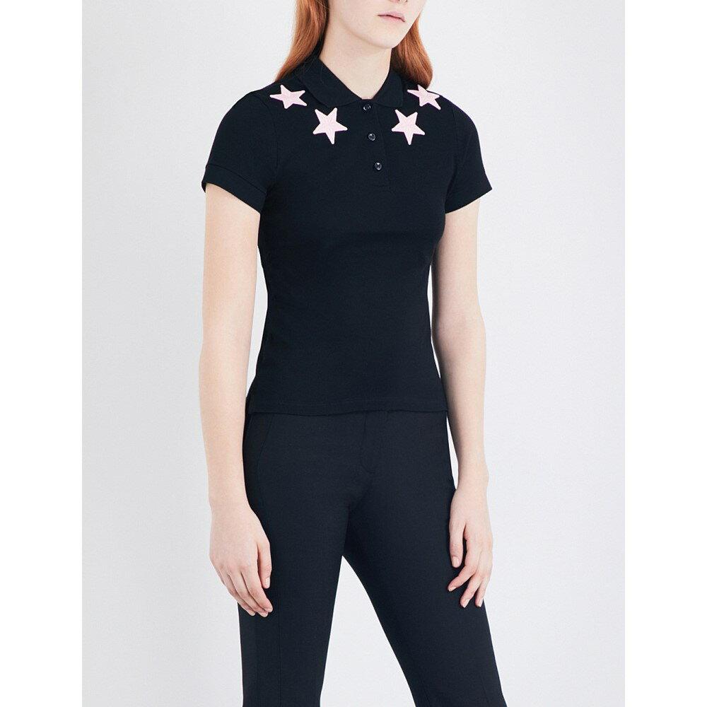 ジバンシー givenchy レディース トップス ポロシャツ【star-embroidered cotton-pique polo top】Black/pink stars