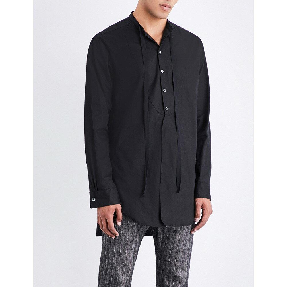 アンドゥムルメステール ann demeulemeester メンズ トップス シャツ【longline loose-fit cotton shirt】Black