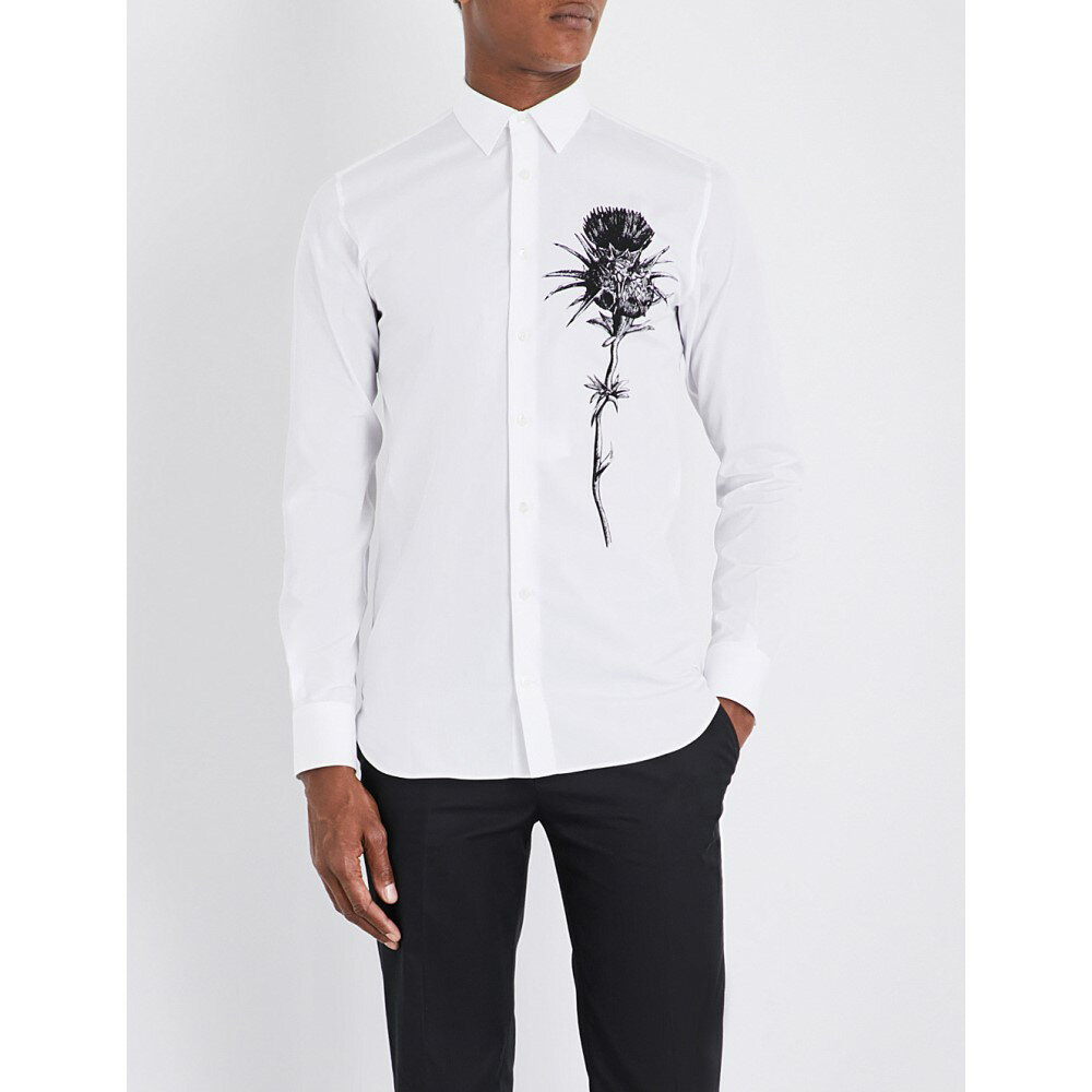 アレキサンダー マックイーン alexander mcqueen メンズ トップス シャツ【thistle-printed regular-fit cotton shirt】White/black
