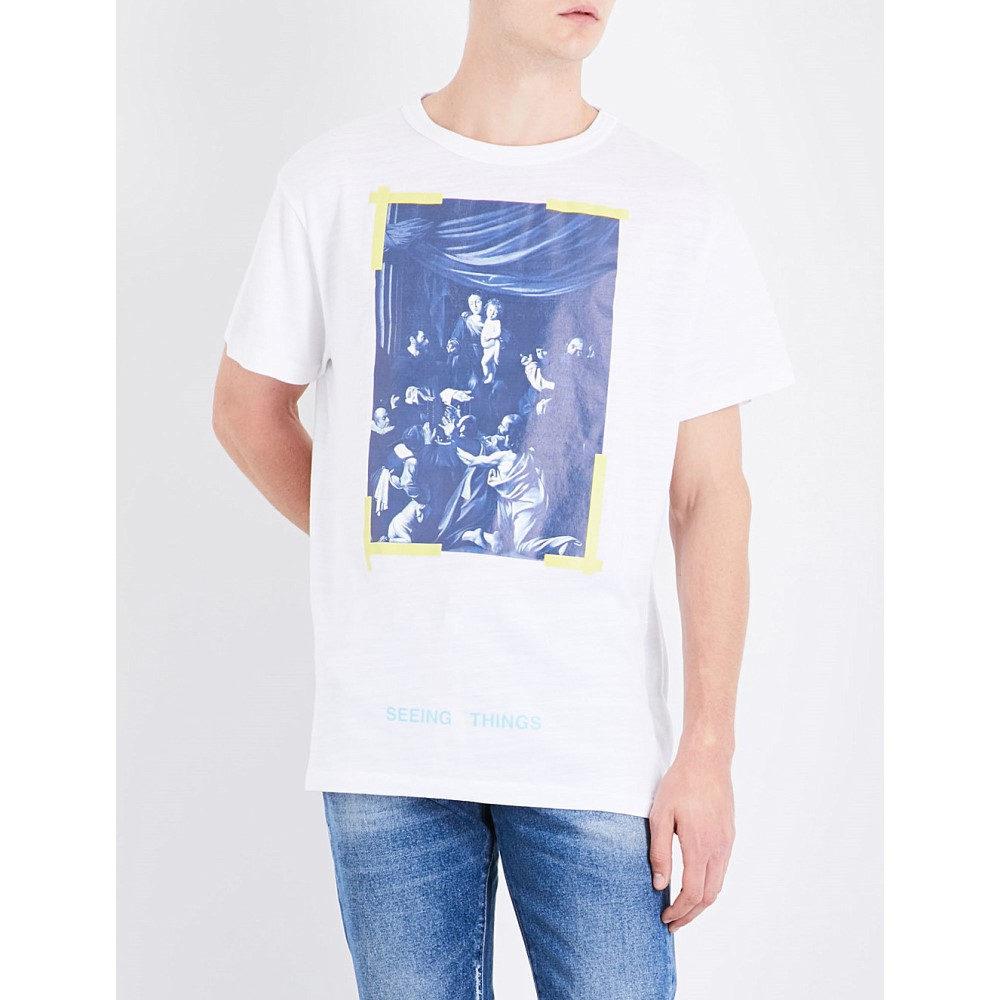 オフホワイト off-white c/o virgil abloh メンズ トップス Tシャツ【caravaggio-print cotton-jersey t-shirt】White