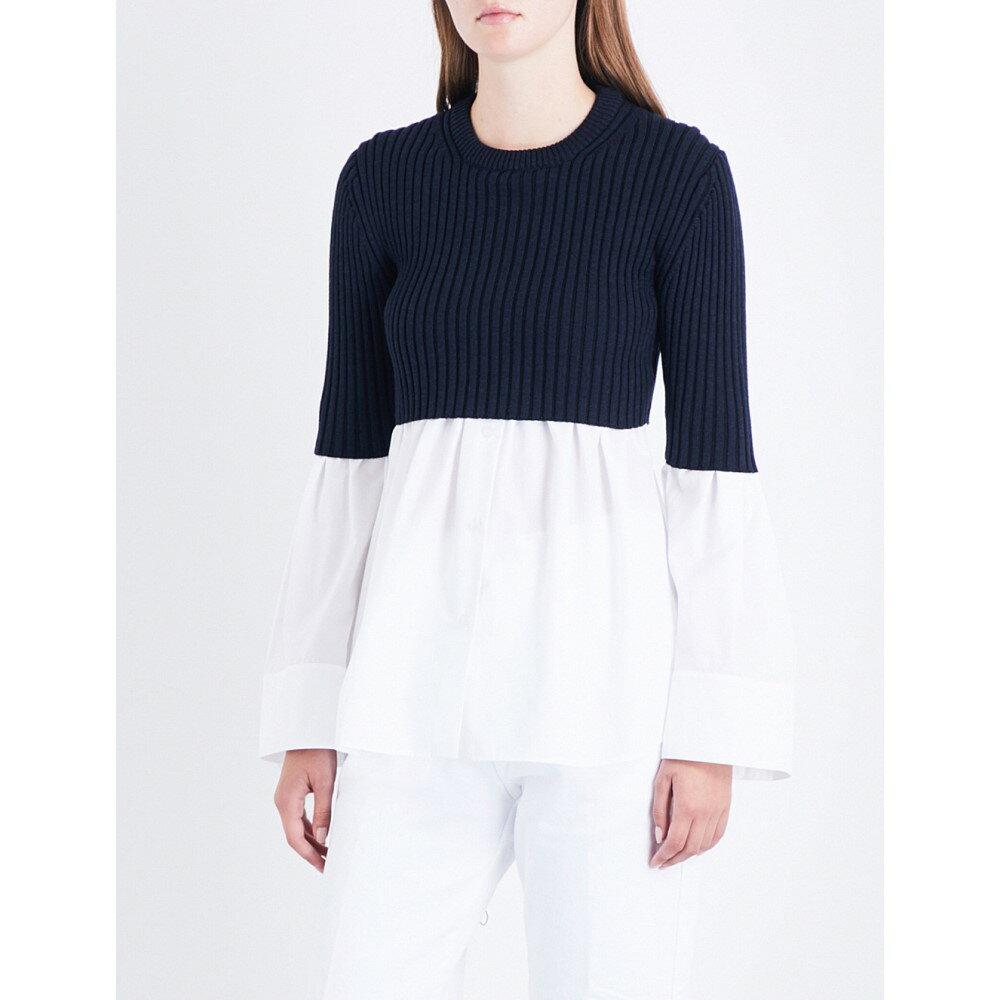 ケンゾー kenzo レディース トップス ブラウス・シャツ【cotton-poplin and wool-blend top】White