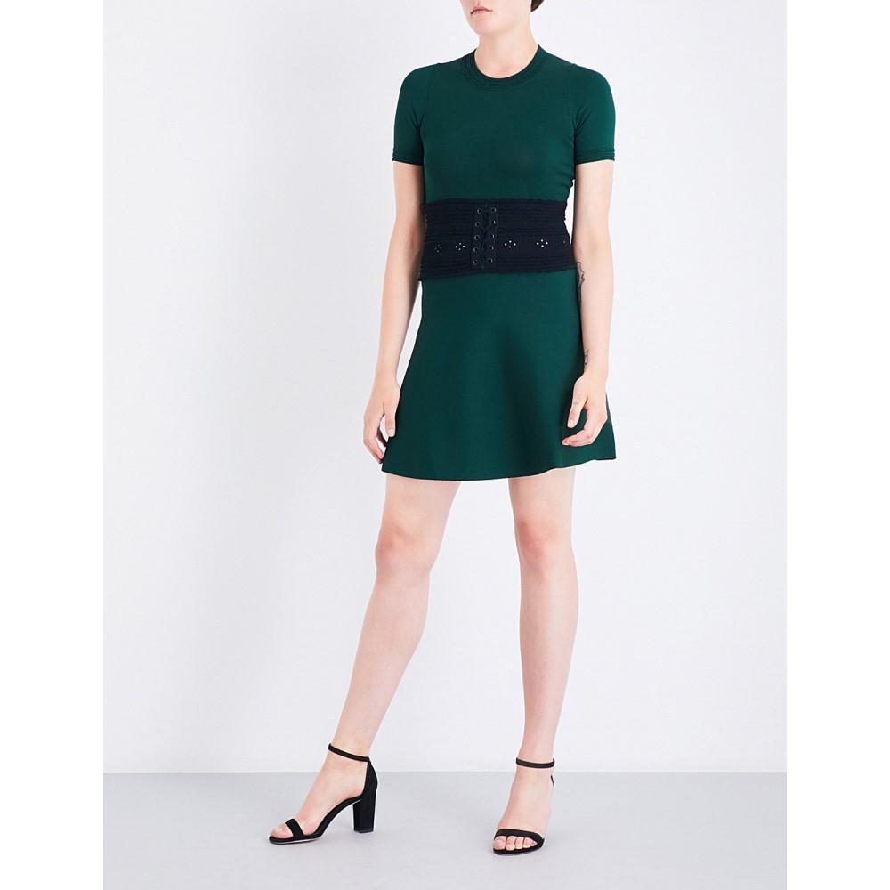 サンドロ sandro レディース ワンピース・ドレス ワンピース【lace-up-detail knitted dress】Moss green