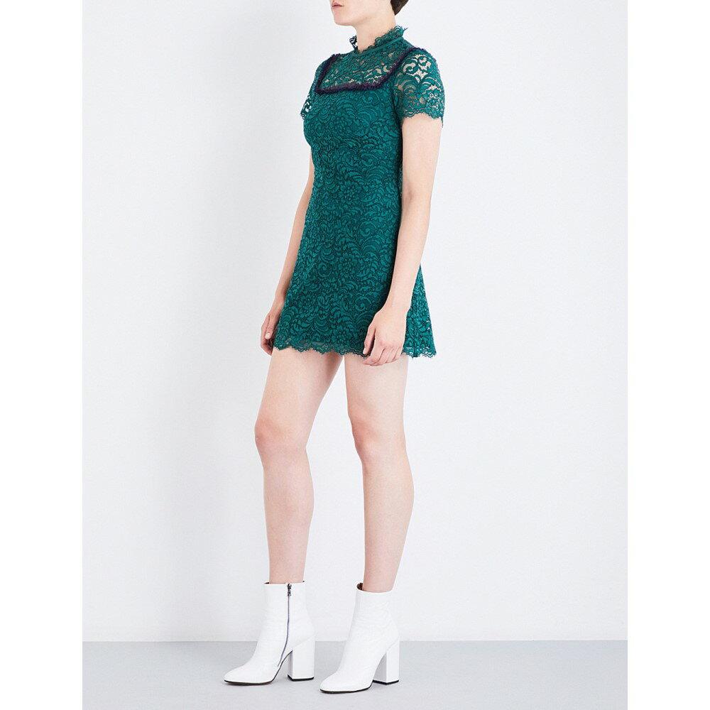 サンドロ sandro レディース ワンピース・ドレス ワンピース【eyelash-trimmed lace dress】Moss green