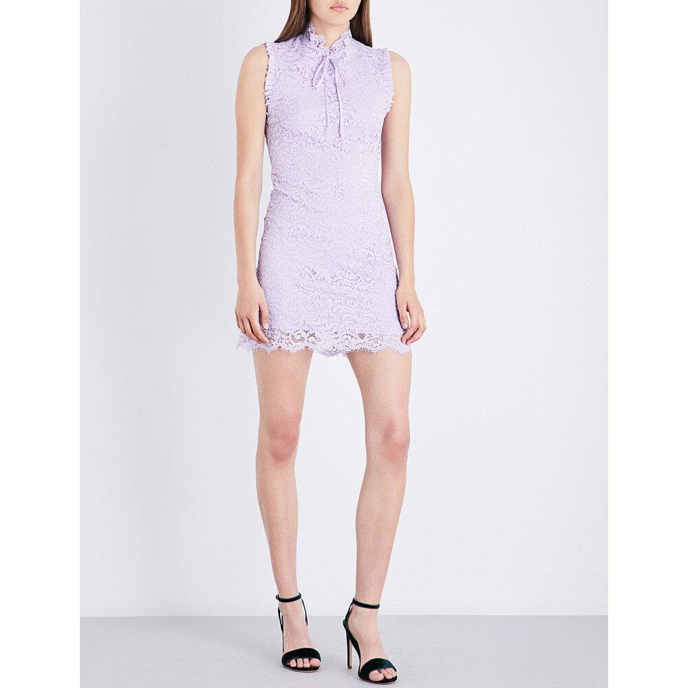サンドロ sandro レディース ワンピース・ドレス ワンピース【frilled-trim high-neck lace dress】Mauve