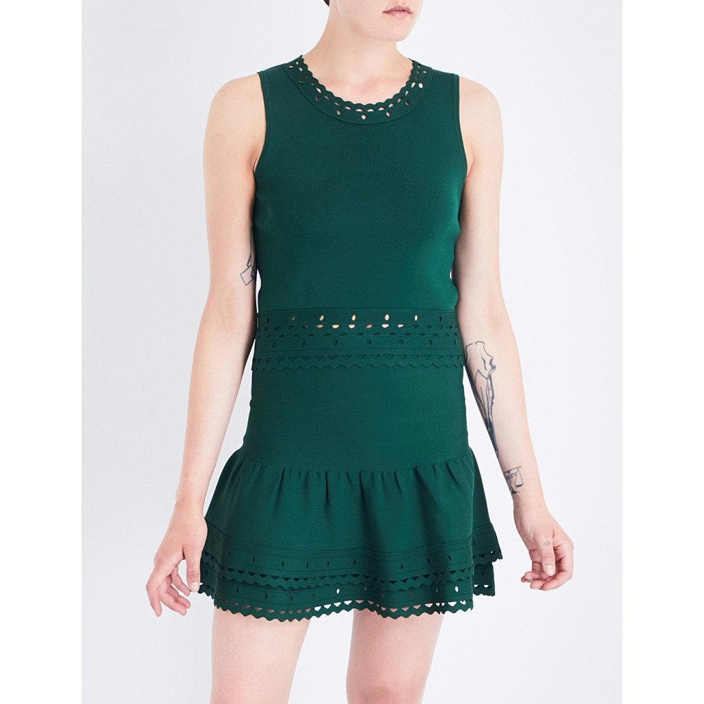 サンドロ sandro レディース トップス タンクトップ【scalloped-trim knitted top】Moss green