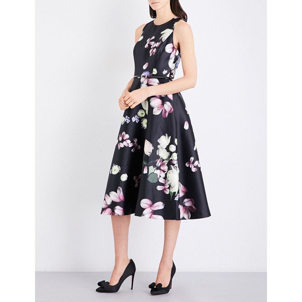 テッドベーカー ted baker レディース ワンピース・ドレス ワンピース【kensington floral-print woven midi dress】Black