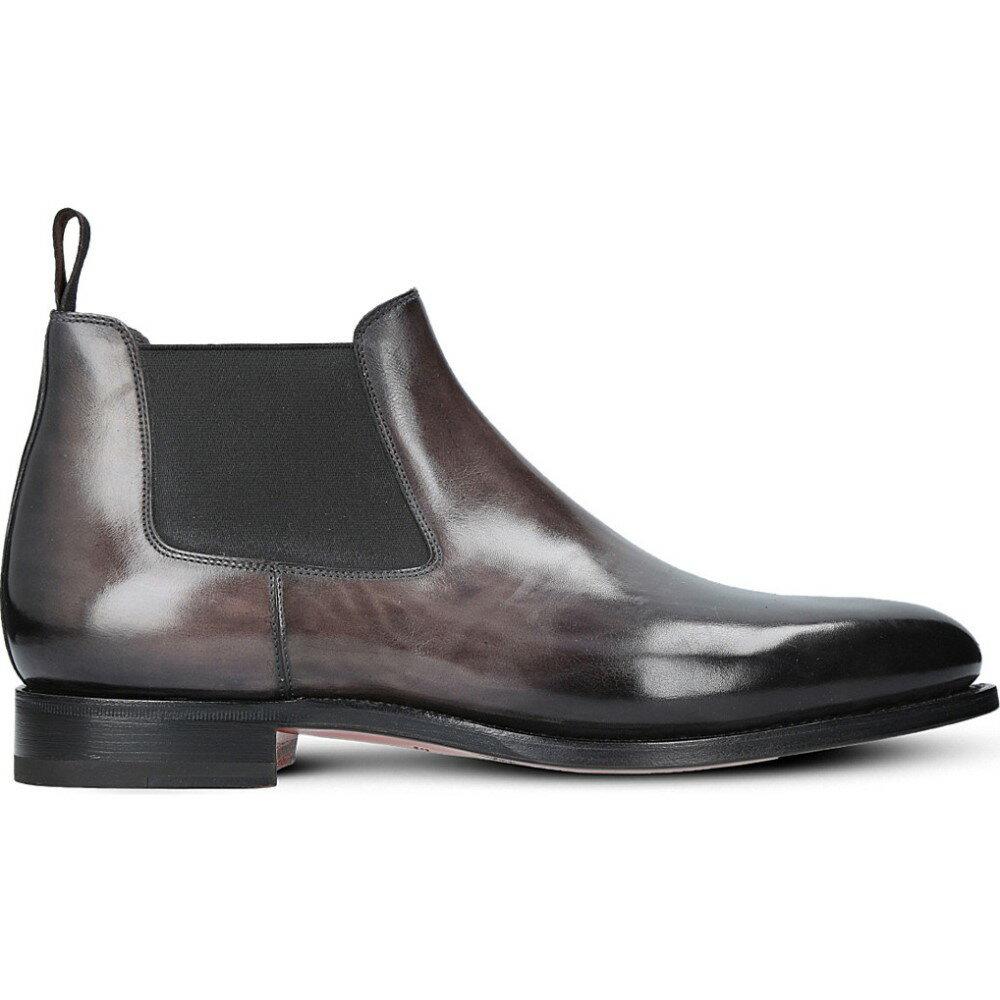 サントーニ santoni メンズ シューズ?靴 ブーツ【kenneth leather chelsea boots】Black
