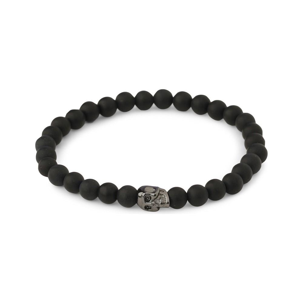 ナイアヤラ メンズ ジュエリー・アクセサリー ブレスレット【matte onyx beaded skull bracelet】Black