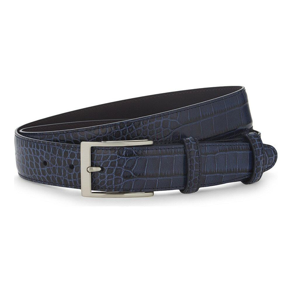エリオットローズ elliot rhodes メンズ アクセサリー ベルト【caribe crocodile-effect leather belt】Navy