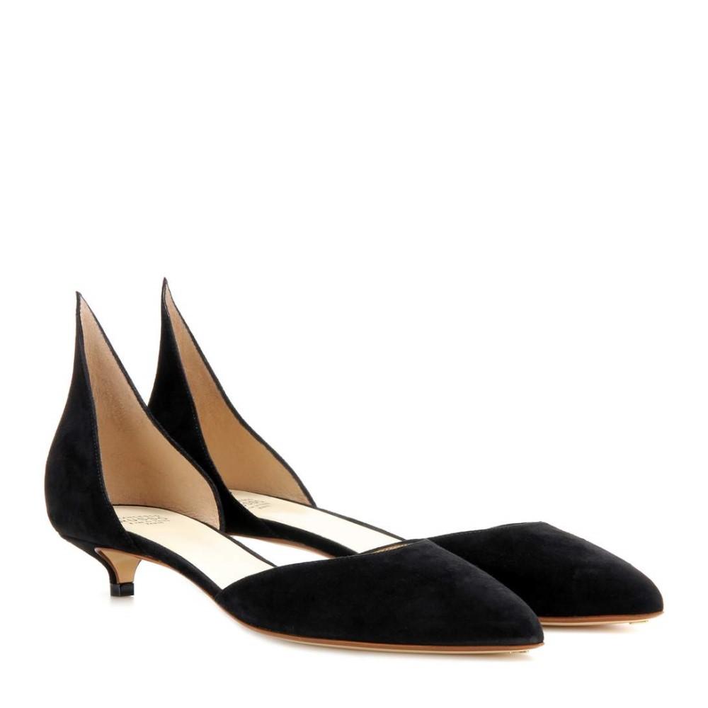 フランセスコルッソ Francesco Russo レディース シューズ?靴 パンプス【Suede kitten-heel pumps】