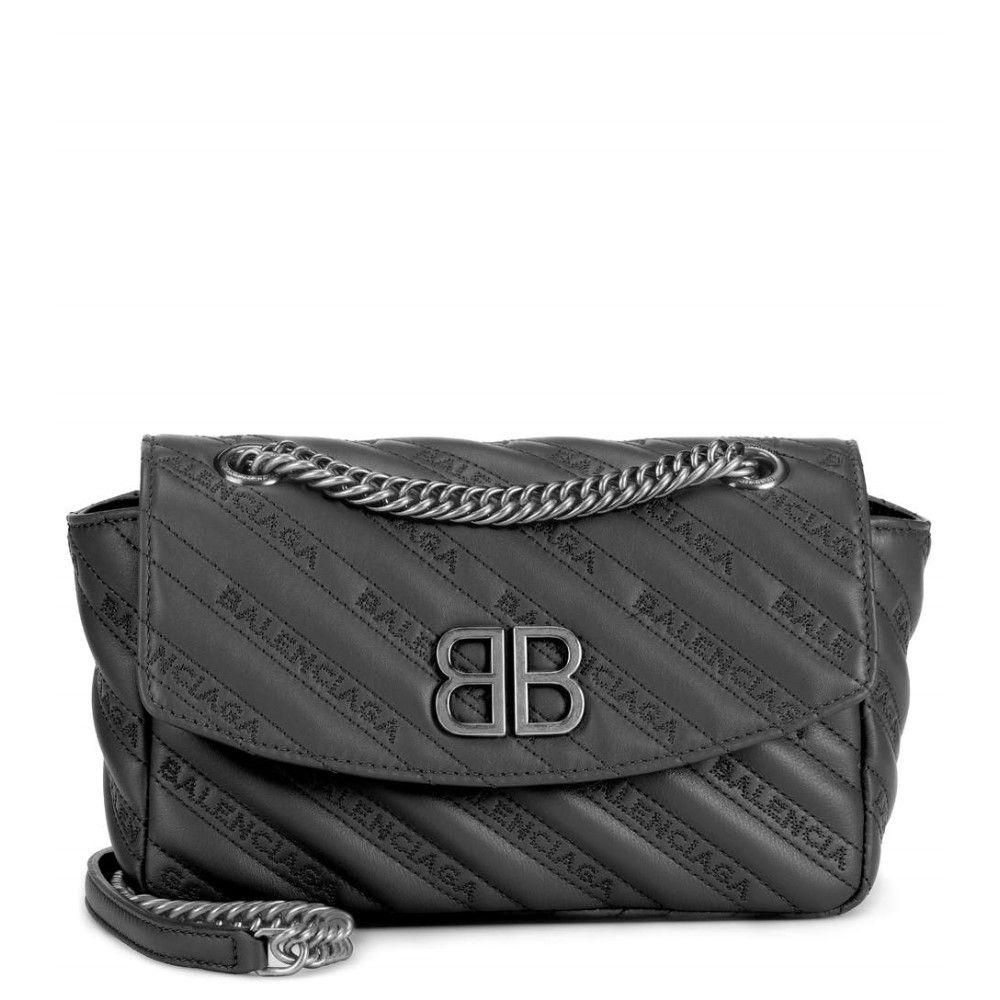 バレンシアガ レディース バッグ ショルダーバッグ【Chain Round S leather shoulder bag】Noir