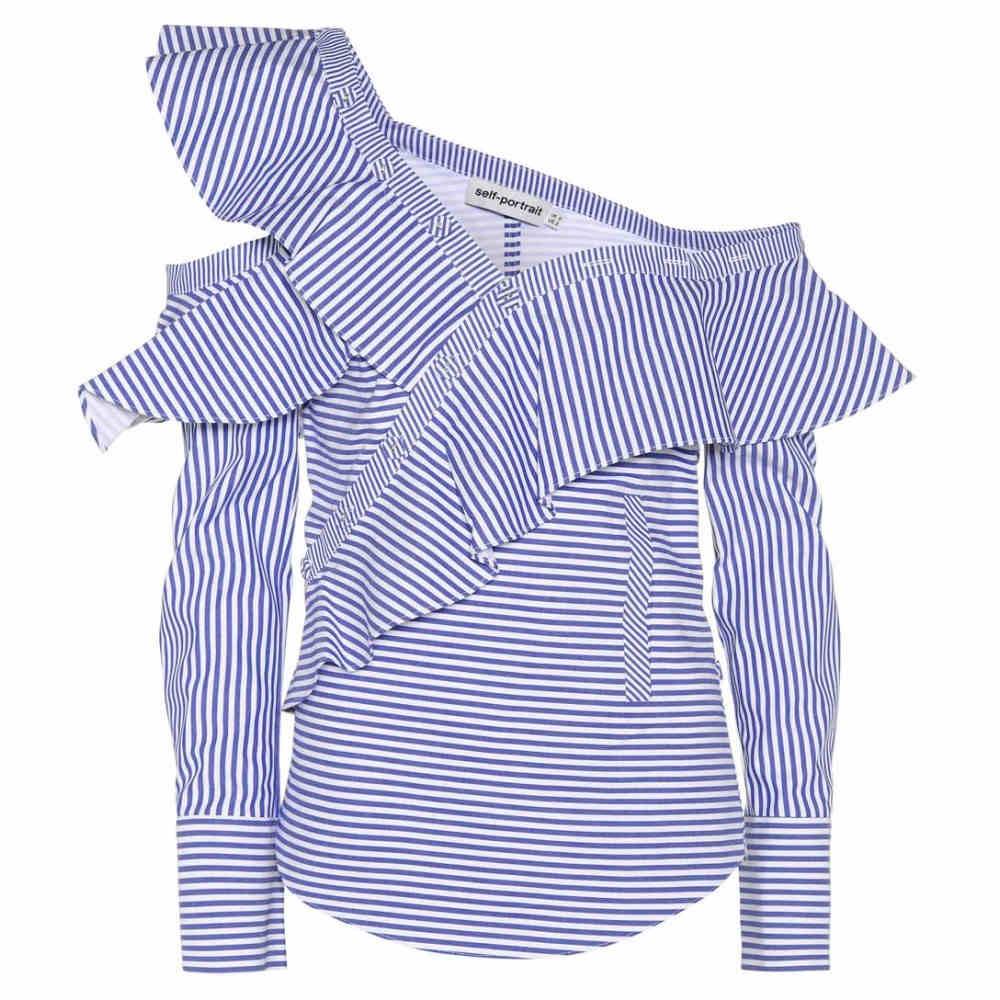 セルフ ポートレイト Self-Portrait レディース トップス ブラウス【Striped Frill cotton shirt】