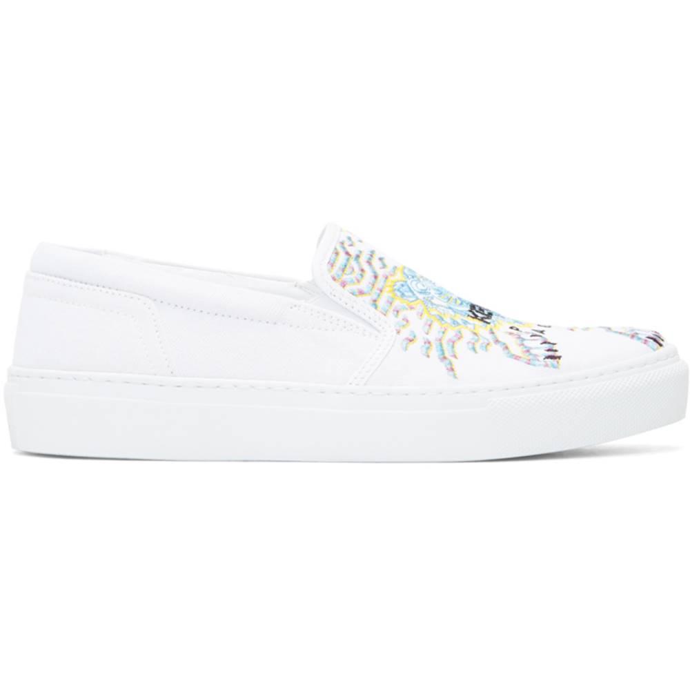 ケンゾー レディース シューズ・靴 スニーカー【White Limited Edition Geo Tiger K-Skate Slip-On Sneakers】
