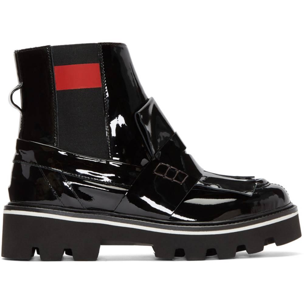 海外セレブ愛用 エムエスジーエム レディース シューズ?靴 ブーツ【Black Patent Fringe Chelsea Boots】