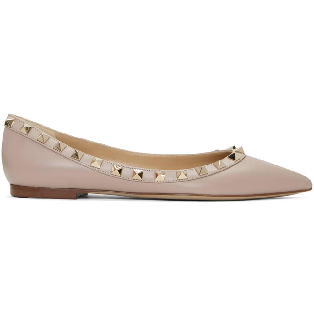 ヴァレンティノ レディース シューズ?靴 スリッポン?フラット【Pink Valentino Garavani Rockstud Ballerina Flats】