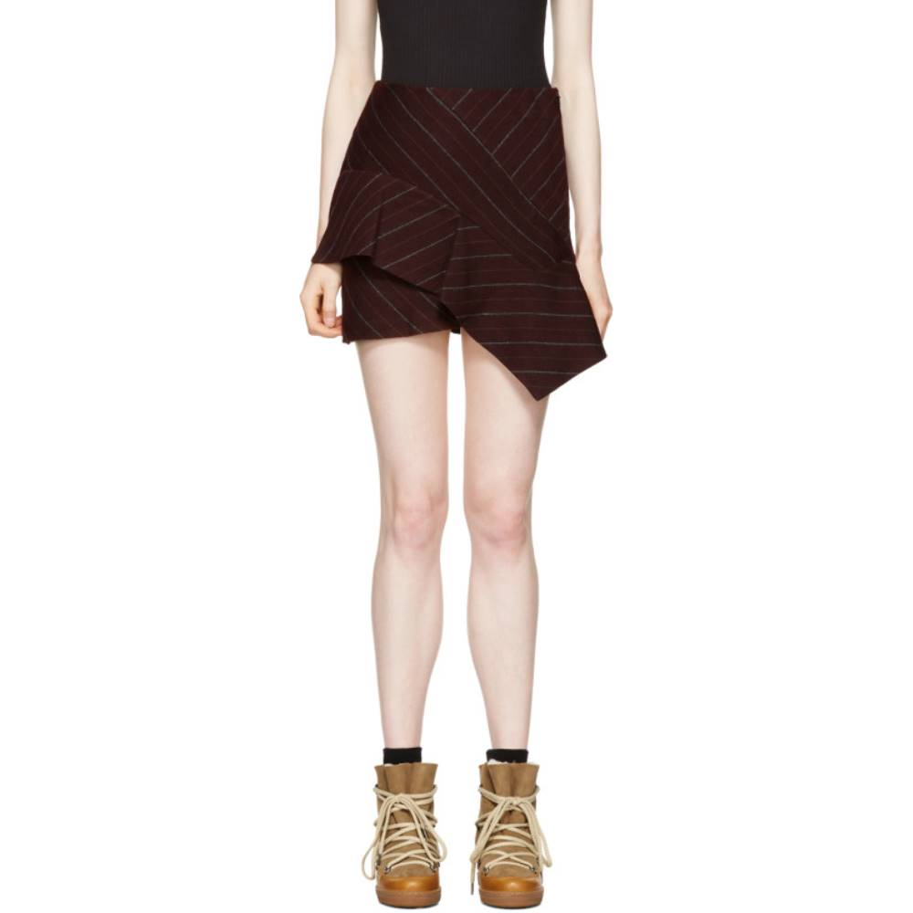 イザベル マラン レディース スカート ミニスカート【Burgundy Pinstripe Kimura Miniskirt】